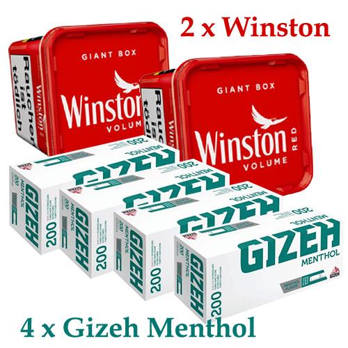 2x Winston Giant 260g Tabak + 4 x Gizeh Menthol 200 Hülsen - Sparpaket