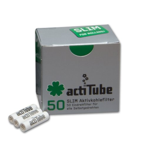 Aktivkohlefilter Acti Tube Slim Zigarettenfilter 50 Stück