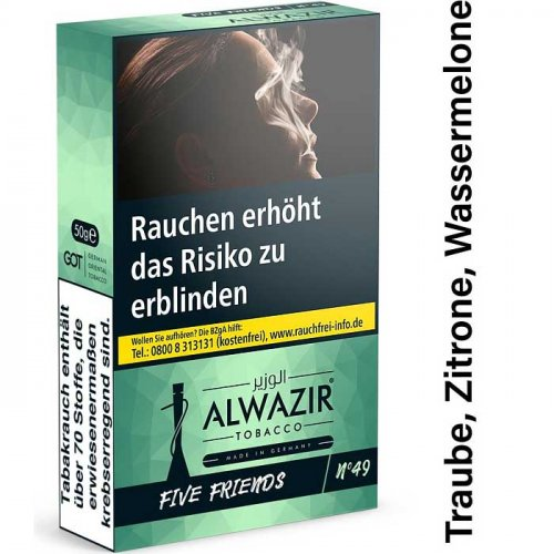 Alwazir Five Friends No. 49 Shisha Tabak 50g