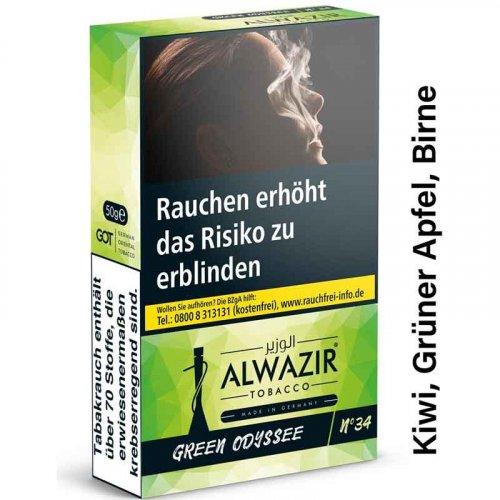 Alwazir Green Odyssey No. 34 Shisha Tabak 50g