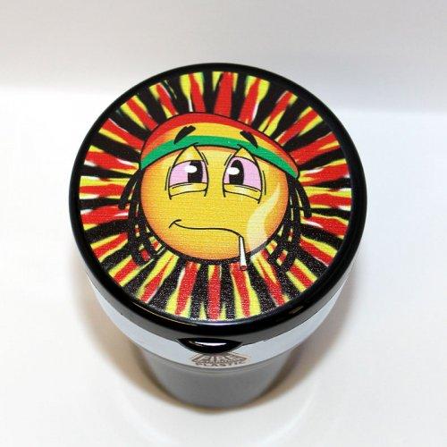 Aschenbecher fürs Auto Smile Reggae mit LED Leuchte