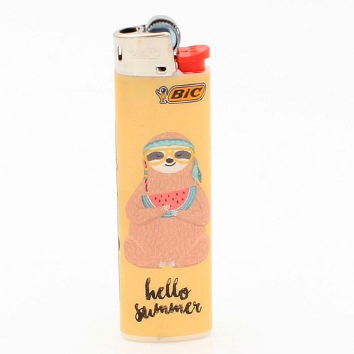 BIC Feuerzeug Slim Faultier Hello Summer 8v8