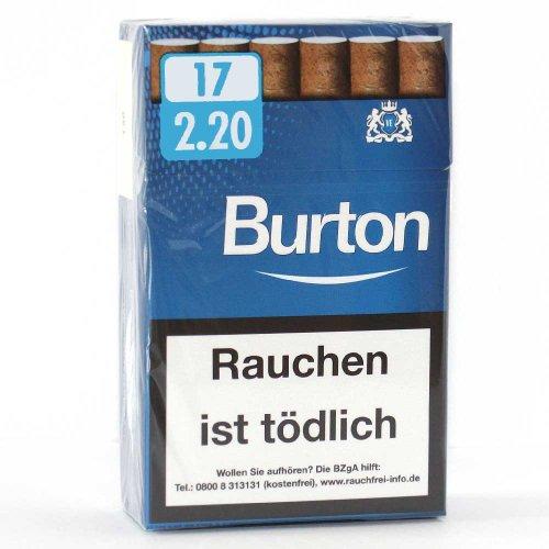 Burton Blau (Weiß) Filterzigarillos mit Naturdeckblatt 17er
