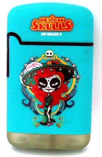 Mexican Skulls Easy Torch 8 Jet Feuerzeug Catrinas Türkis