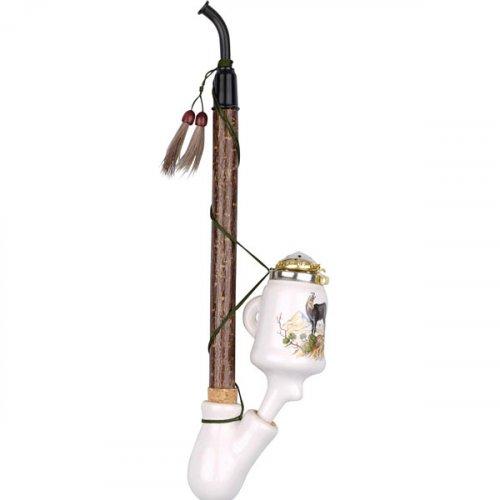Gesteckpfeife aus Porzellan mit Jagdmotiv Gams Kopfform Krug 30cm
