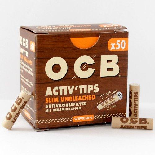 OCB Activ Tips Slim Unbleached 7mm