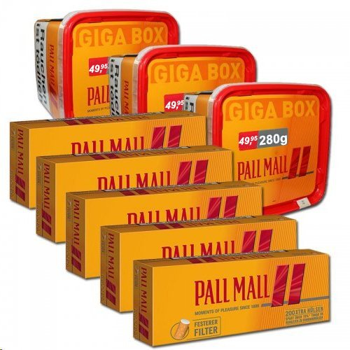 Sparpaket - 3 x Pall Mall Allround 280g Dose + 5x Pall Mall Allround Xtra Rot 200 Hülsen