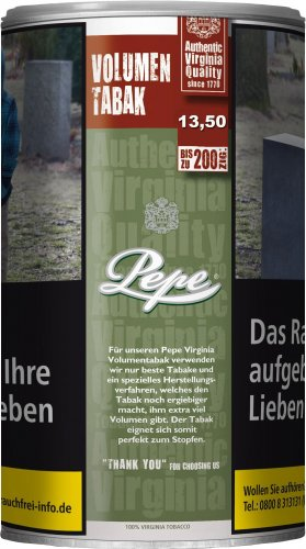 Pepe Tabak ohne Zusatzstoffe Virginia 85g Dose Volumentabak