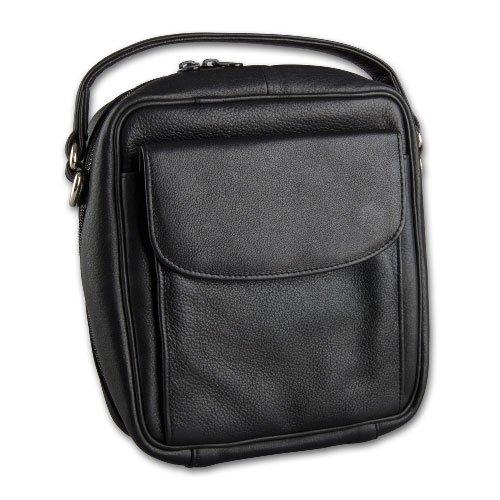 Pfeifentasche 8er Leder schwarz mit Vortasche/Schulterriemen