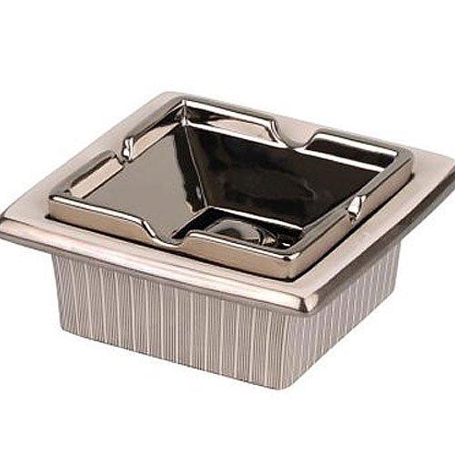 Salon-Cigarrenascher eckig Keramik weiß Silberdekor 17cm