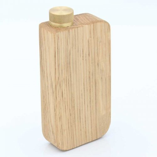 Schnupftabakdose Naturholz Eiche mit Messingverschluss