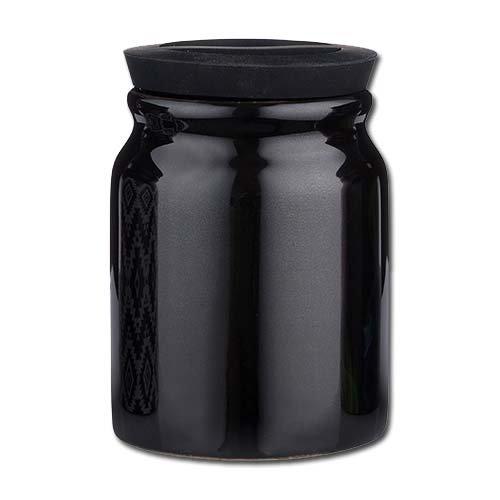 Tabaktopf Steingut für Pfeifen- und Zigarettentabak schwarz