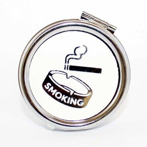 Taschenaschenbecher Rund Smoking Weiß
