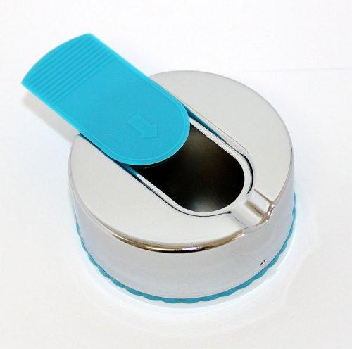Taschenaschenbecher mit Schiebedeckel Rund Chrome Blau