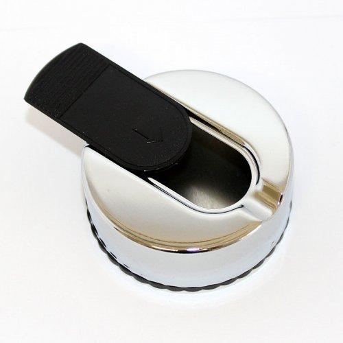 Taschenaschenbecher mit Schiebedeckel Rund Chrome Schwarz