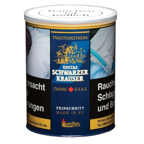 Unitas Schwarzer Krauser Tabak 140g Dose Feinschnitt