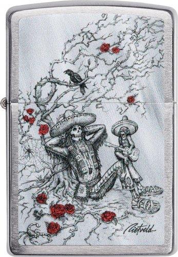 ZIPPO chrom Skelet und Rosen