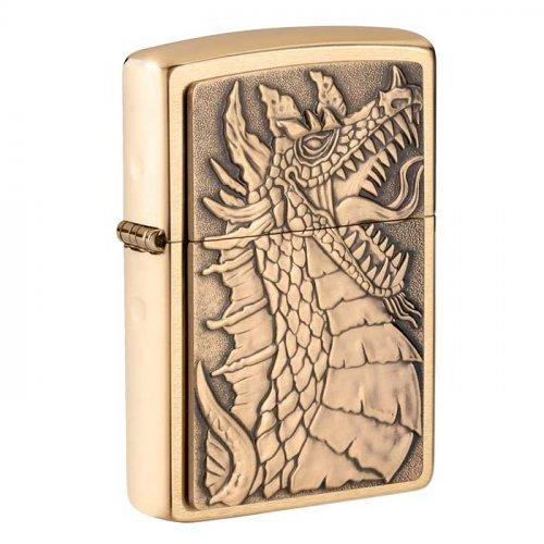 Zippo Feuerzeug Dragon Messing Plakette