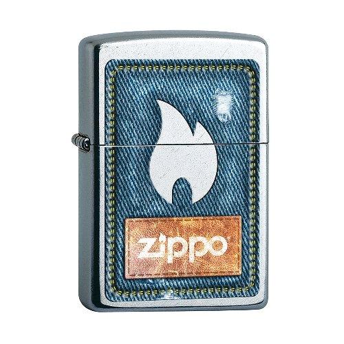 Zippo Feuerzeug Street chrom Denim and Flame