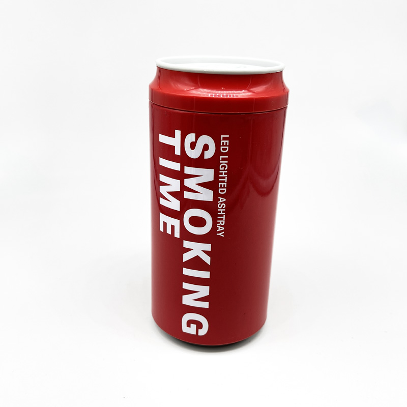 Atomic Auto-Aschenbecher, Optik Getränkedose, rot, mit LED Licht, inkl. Batterie