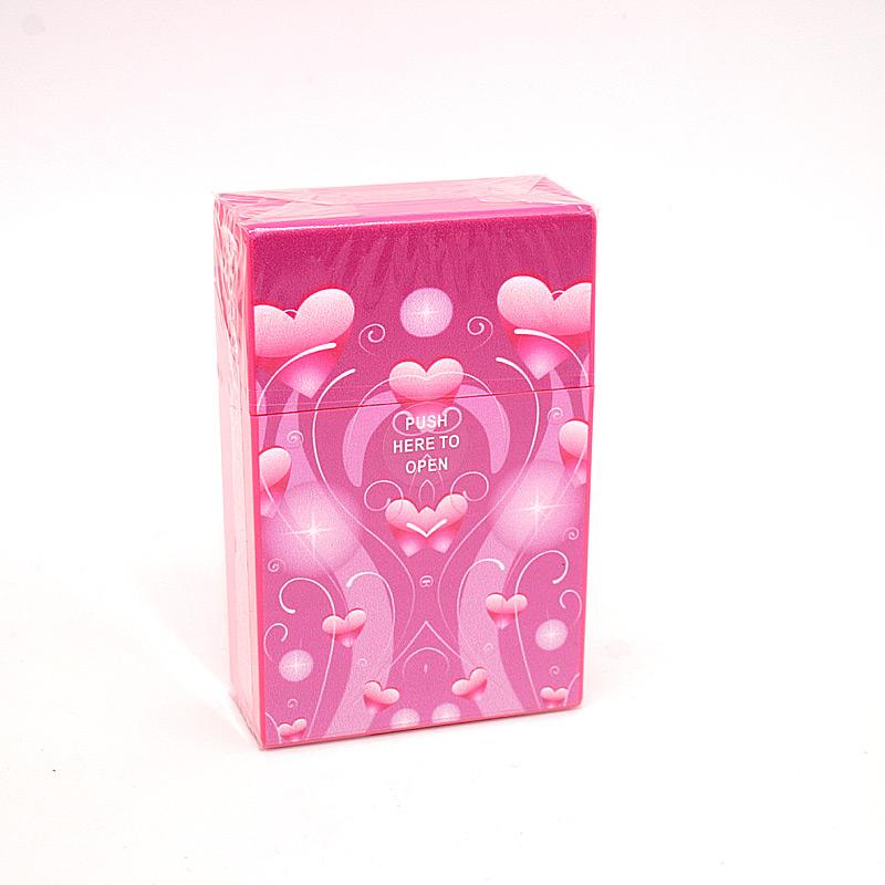 Atomic Zigarettenbox für ca. 20 Stück, Motiv Hearts, pink