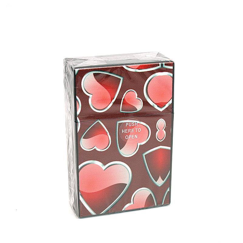 Atomic Zigarettenbox für ca. 20 Stück, Motiv Hearts, schwarz-rot