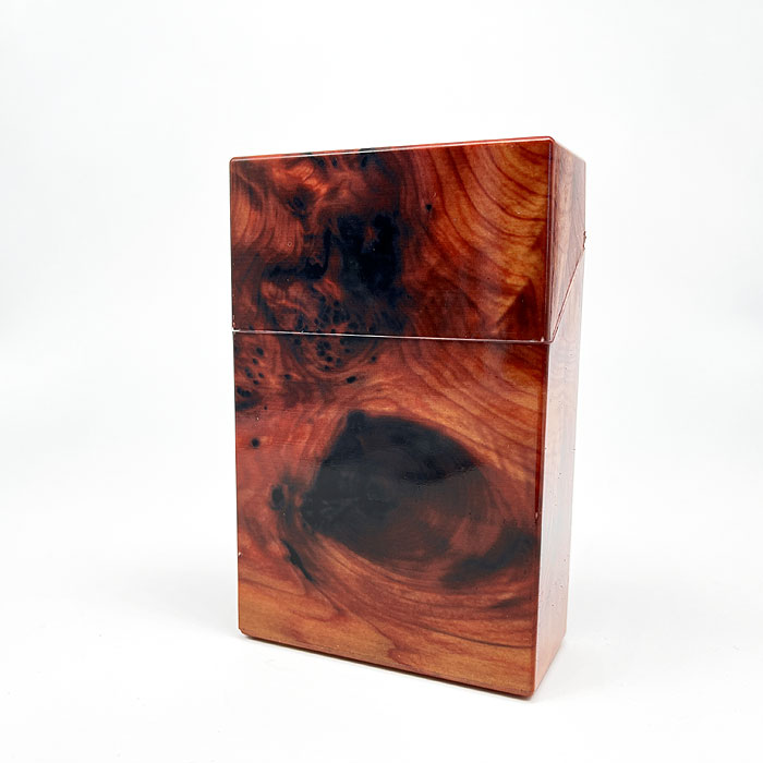 Atomic Zigarettenbox King Size Holz Marmorierung Orange