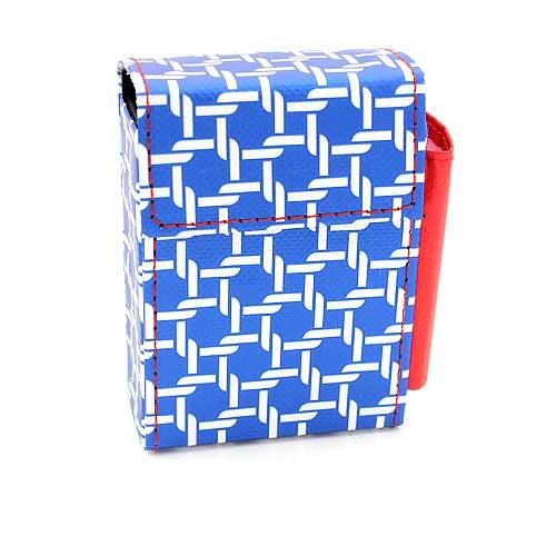 Atomic Zigarettenetui mit Feuerzeugfach, Kunstleder, blau-weiß, 20er