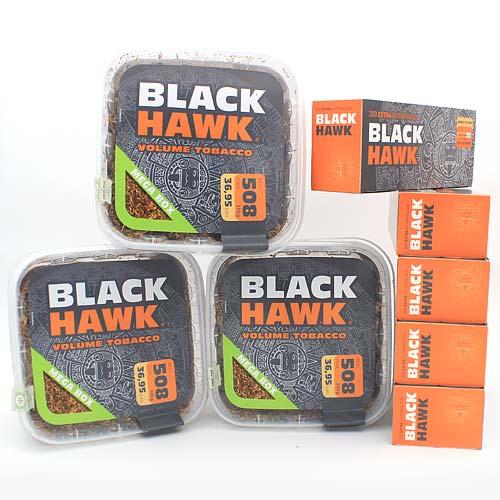 Black Hawk Tabak Sparpaket (3x Black Hawk Eimer 230g) + (5x Black Hawk Extra Filterhülsen 200 Stk)