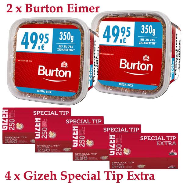 Burton Tabak Sparpaket (2 x Burton Rot Eimer 350g) + (4 x Gizeh Special Tip Extra 250 Stk)