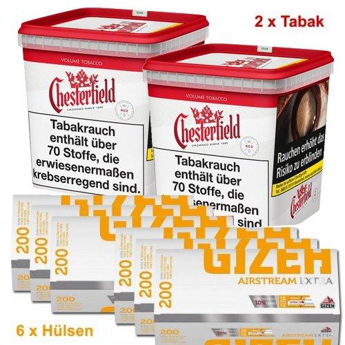 Chesterfield 560g (2x280g) Tabak + Gizeh 1200 (6x200 Stk.) Hülsen Sparpaket