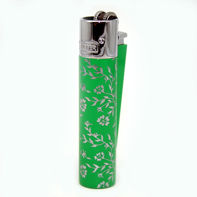 Clipper Feuerzeug Blue and Green Pattern grün