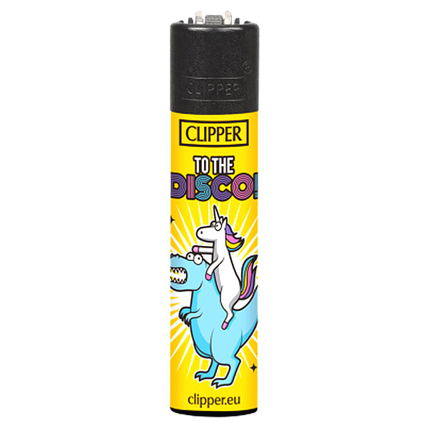 Clipper Feuerzeug Einhorn Slogan TO THE DISCO