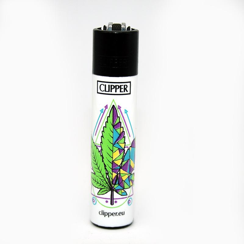 Clipper Feuerzeug Geometrical Leaves lila-gelb