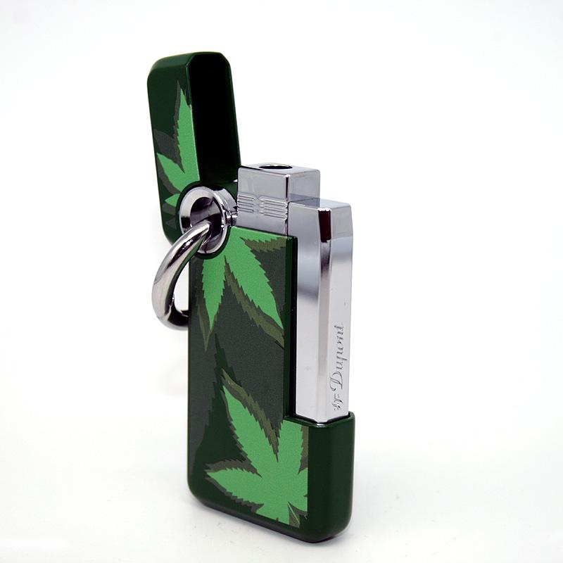 Dupont Feuerzeug Hooked Green Leaf grün