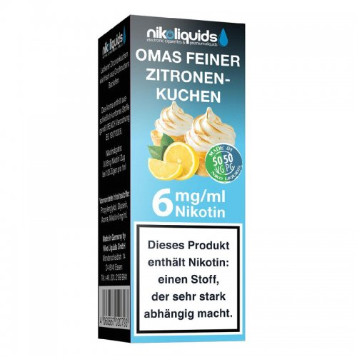 E-Liquid NIKOLIQUIDS Omas Feiner Zitronenkuchen 6mg Nikotin