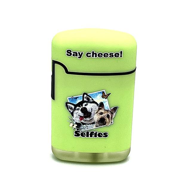 Easy Torch Say Cheese! Hunde Motiv Feuerzeug hellgrün