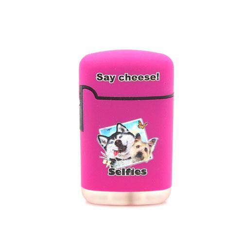 Easy Torch Say Cheese! Hunde Motiv Feuerzeug lila