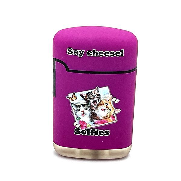 Easy Torch Say Cheese! Katzen Motiv Feuerzeug lila