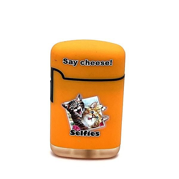 Easy Torch Say Cheese! Katzen Motiv Feuerzeug orange