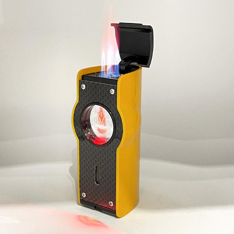 Feuerzeug Myon Table 4er Jet Sensor+Piercer Racing Gelb Zigarrenfeuerzeug