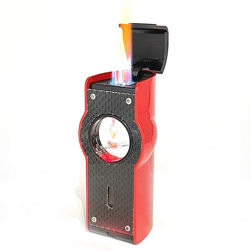 Feuerzeug Myon Table 4er Jet Sensor+Piercer Racing Rot Zigarrenfeuerzeug