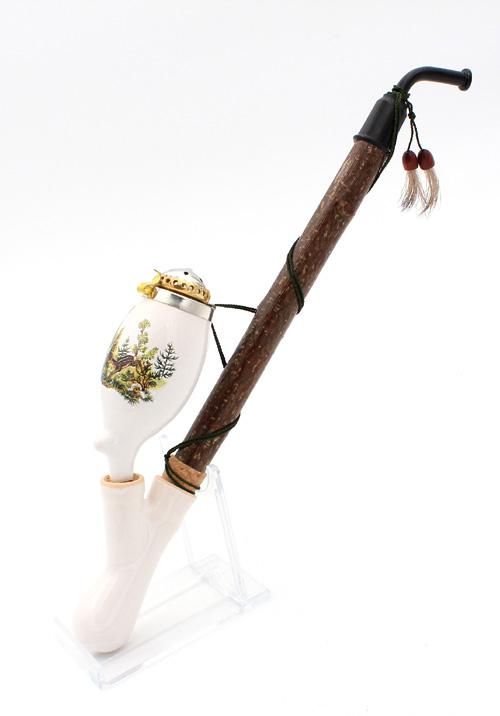 Gesteckpfeife aus Porzellan mit Jagdmotiv Reh Kopfform Oval 30cm