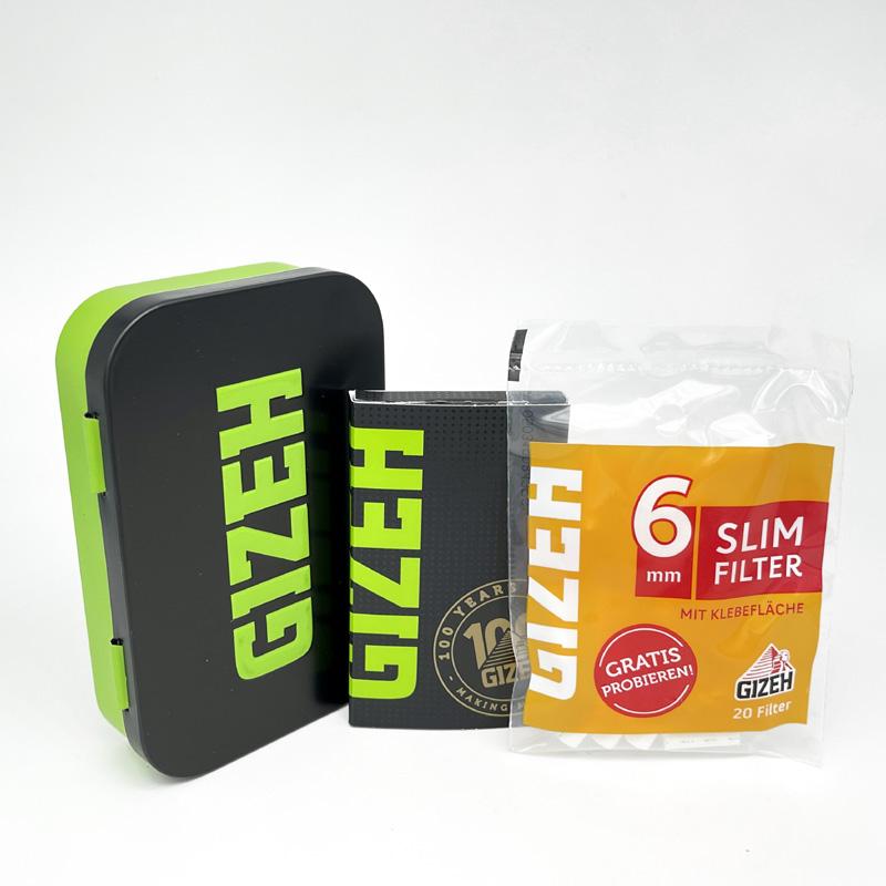 Gizeh Dreher-Box inkl. Paper und Filter schwarz-grün