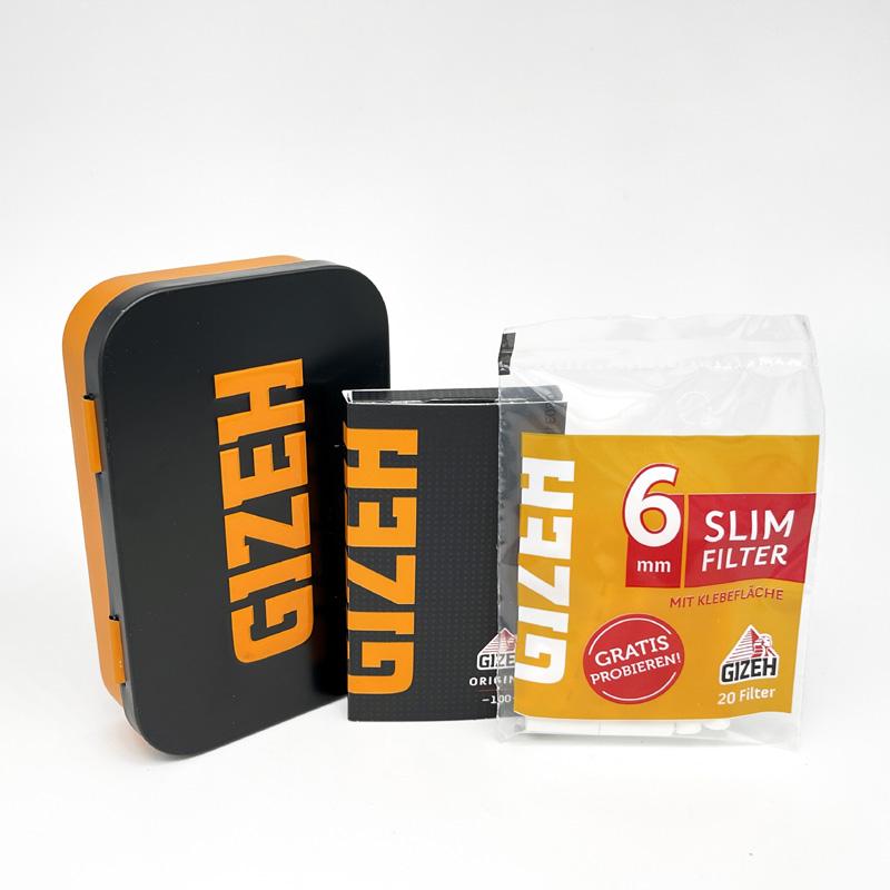 Gizeh Dreher-Box inkl. Paper und Filter schwarz-orange