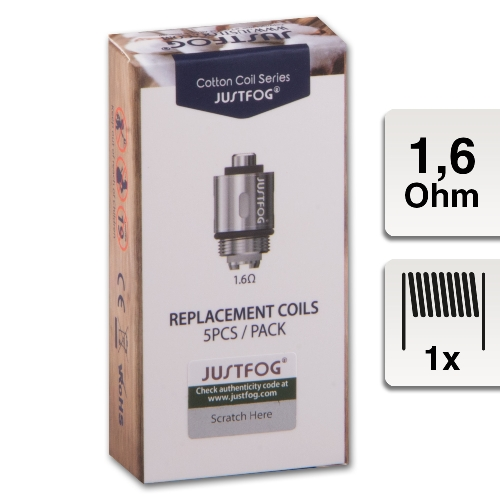 JUSTFOG Coil für Q14, Q16, 1.6 Ohm 5 Stück Verdampferkern