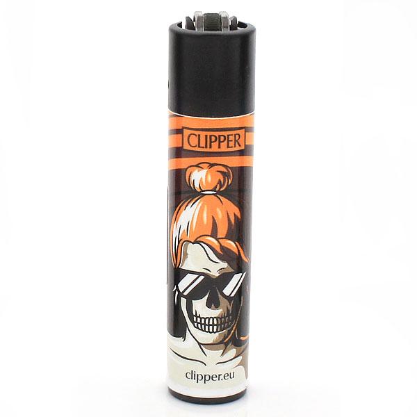 Clipper Feuerzeug Skulls 18 Orange 3v4