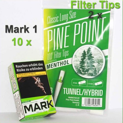 Mark 1 Menthol Zigaretten Baukasten Set (1 Stange Zigaretten) + (2 x Pine Point Filter Tips)
