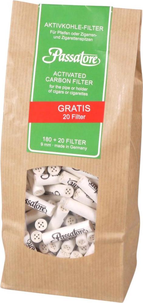 Passatore Aktivkohle-Filter 180 +20 Stück Pfeifenfilter