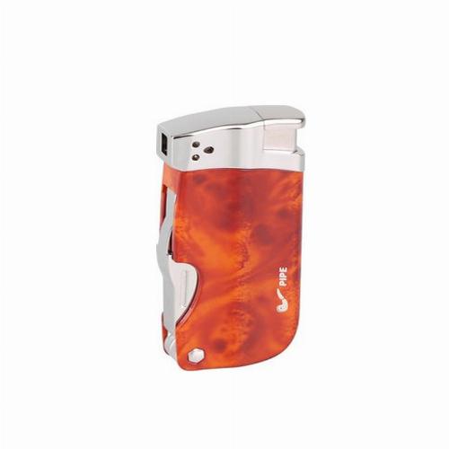 Passatore Pfeifenfeuerzeug braun-marmoriert mit Pfeifenbesteck